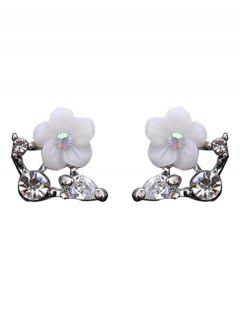Rhinestone Shell Flower Earrings - Silver