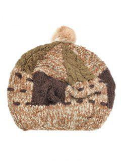 Fuzzy Ball Embellished Colormix Knitted Beanie - Khaki
