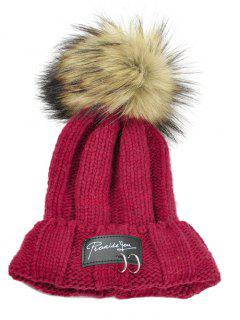 Metal Rings Embellished Flanging Knitted Pom Beanie - Red