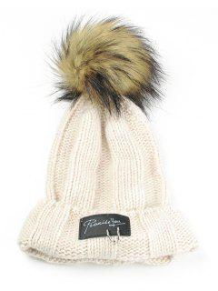 Metal Rings Embellished Flanging Knitted Pom Beanie - Beige