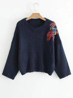 Pullover Embroidered Chunky Sweater - Purplish Blue S