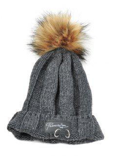 Metal Rings Embellished Flanging Knitted Pom Beanie - Dark Gray