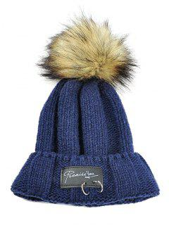 Metal Rings Embellished Flanging Knitted Pom Beanie - Cadetblue