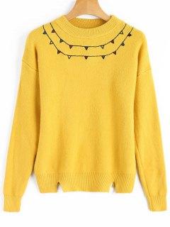 Ausschneiden Patched Pullover - Gelb