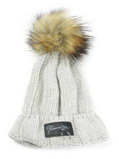 Metal Rings Embellished Flanging Knitted Pom Beanie - Light Gray