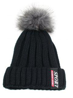 Letter Label Pattern Flanging Knitted Pom Beanie - Black