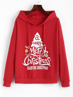 Drawstring Christmas Tree Hoodie - Red Xs