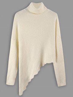 Rollkragen Gerippt Asymmetrische Pullover - Beige
