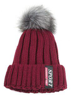Letter Label Pattern Flanging Knitted Pom Beanie - Wine Red
