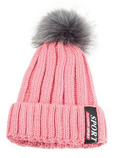 Letter Label Pattern Flanging Knitted Pom Beanie - Pink