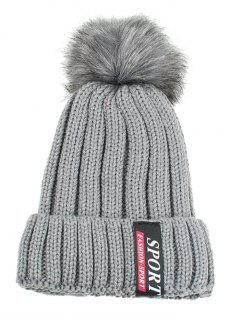 Letter Label Pattern Flanging Knitted Pom Beanie - Gray