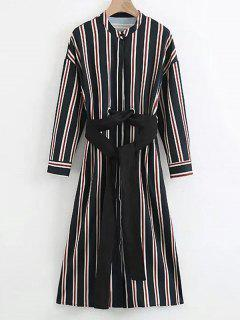 Belted Long Sleeve Stripes Dress - Stripe S