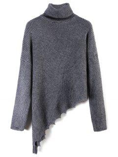 Turtleneck Ripped Asymmetric Sweater - Deep Gray