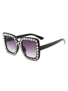 Rhinestone Embellished Oversized Square Sunglasses - Black+grey