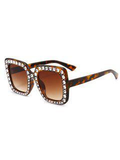Gafas De Sol Cuadradas De Gran Tamaño Adornadas Con Diamantes De Imitación - Leopardo + Marrón