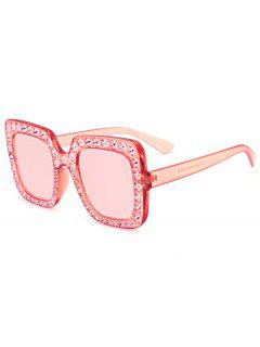 Rhinestone Embellished Oversized Square Sunglasses - Transparent Pink Frame + Pink Lens