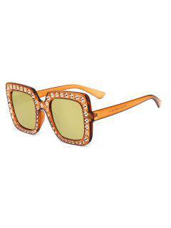 Rhinestone Embellished Oversized Square Sunglasses - Luxury Gold Color