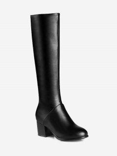 PU Leather Chunky Heel Knee High Boots - Black 42