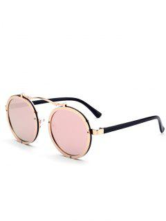 UV Protection Crossbar Embellished Round Sunglasses - Pink