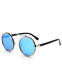 UV Protection Crossbar Embellished Round Sunglasses - Blue