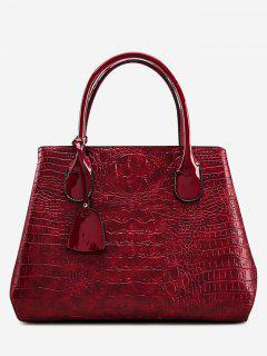 Faux Leather Embossing Handbag With Strap - Wine Red