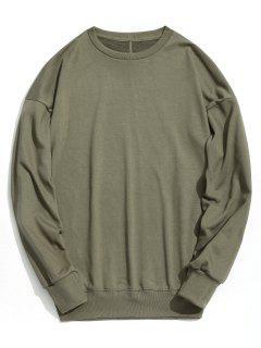Drop Shoulder Plain Sweatshirt - Army Green M