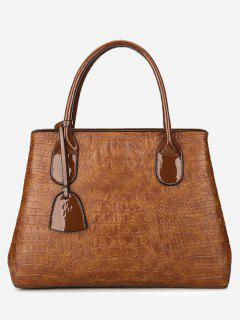 Faux Leather Embossing Handbag With Strap - Brown