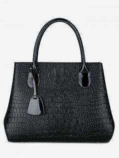 Faux Leather Embossing Handbag With Strap - Black