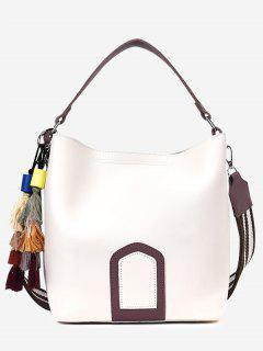 Color Block Tassel Faux Leather Handbag - White
