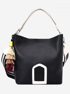 Color Block Tassel Faux Leather Handbag - Black