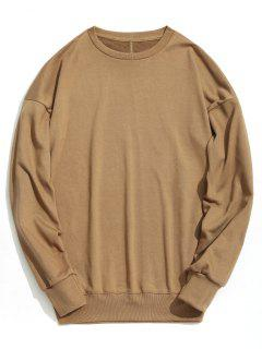 Drop Shoulder Plain Sweatshirt - Khaki L