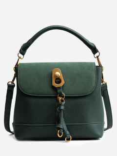 Faux Leather Metal Front Zip Handbag - Green
