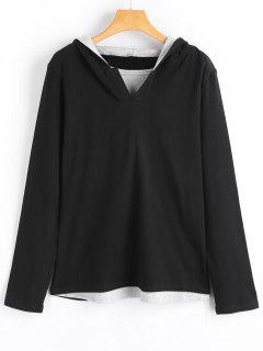 Slit Collar Two Tone Panel Hoodie - Black L