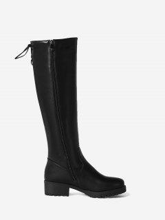 Stacked Heel Tie Up Back Mid-calf Boots - Black 42