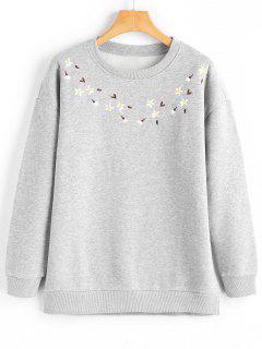 Sweat-shirt Ample à Broderie Florale - Gris Clair L