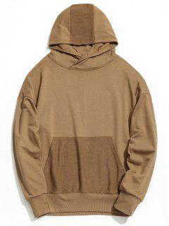 Drop Shoulder Kangaroo Pocket Hoodie - Khaki S