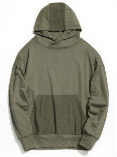 Drop Shoulder Kangaroo Pocket Hoodie - Army Green L
