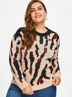 Pullover Patterned Plus Size Sweater - 3xl