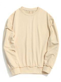 Drop Shoulder Raw Hem Sweatshirt - Off-white S