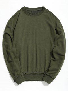 Drop Shoulder Raw Hem Sweatshirt - Army Green S