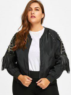 Beading Fringes Plus Size Jacket - Black 3xl