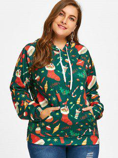 Kangaroo Pocket Christmas Plus Size Hoodie - Green 3xl