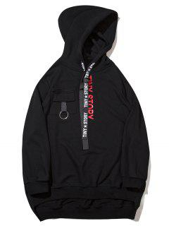 Streetwear Letter High Low Hoodie - Black M