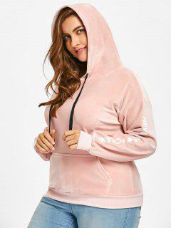 Letter Plus Size Velvet Hoodie - Pink 4xl