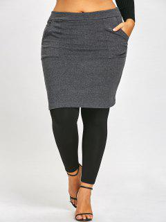 Pockets Plus Size Skirted Leggings - Black And Grey 3xl