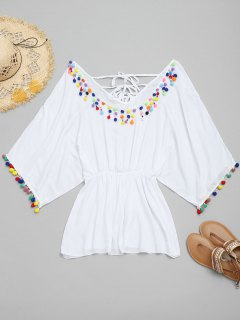 Batwing Pom-pom Cover Up Dress - White