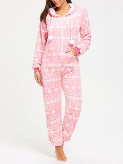 Fleece Hooded Zip Jumpsuit Ropa De Dormir - Rosa L