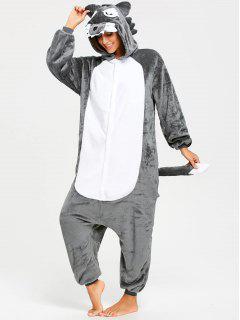 Onesie Wolf Animal Fleece Jumpsuit Ropa De Dormir - Gris L