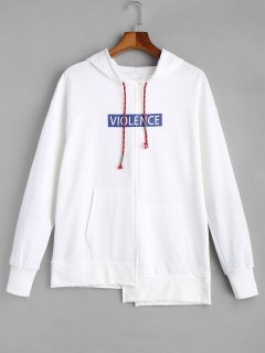 Violence Graphic Oversized Hoodie - White