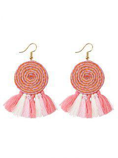 Lollipop Tassel Hook Earrings - Pink